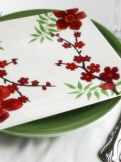 Floral plate with silverware