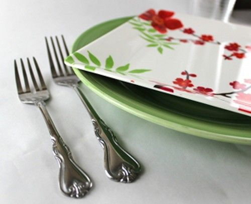 Angled view of floral plate