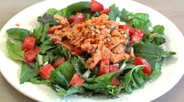 Red Sockeye Salmon Salad on a plate