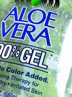 Closeup view of Aloe Vera gel bottle label