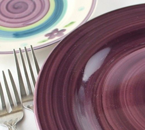 Closeup of plate and silverware on table