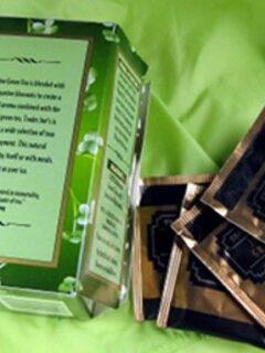 Green tea box and bags