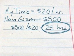 Photo of handwritten calculation of new purchase in labor hours