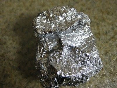 Final wrapped cheese in tinfoil