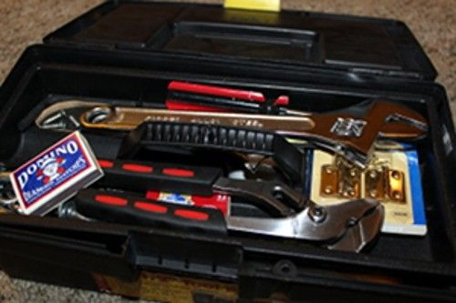 Contractor's toolbox with tools