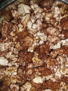 Overhead view of dark chocolate popcorn