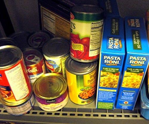 Pantry items on pantry shelf