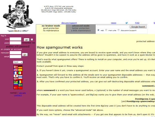 Screenshot of SpamGourmet homepage email addresses to fight spam