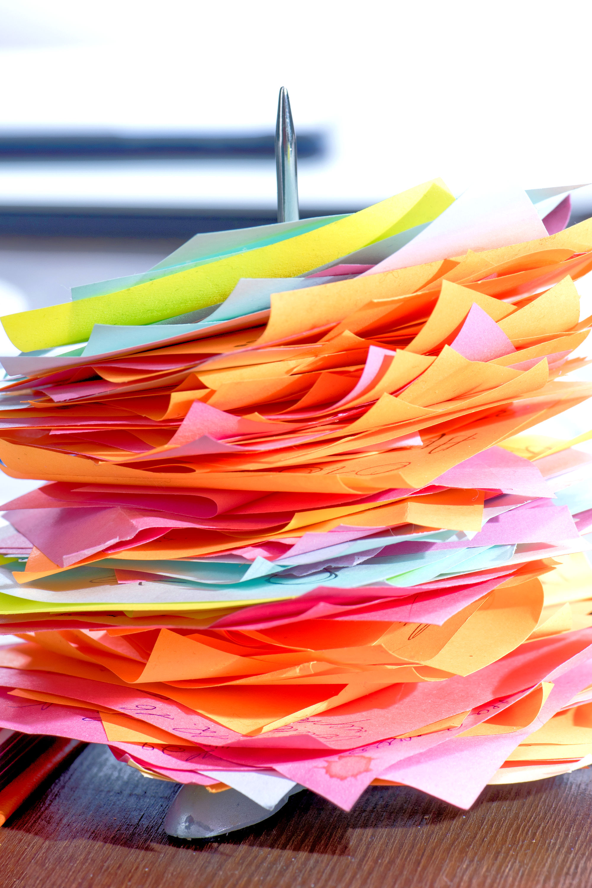 Stack of task papers stuck on needle