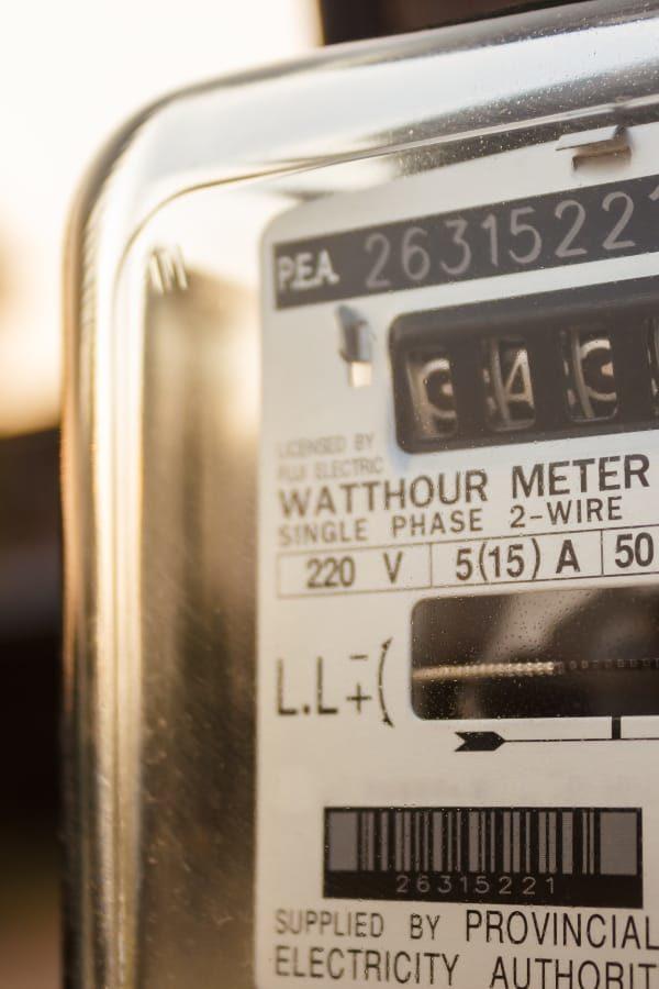 Closeup of utility meter