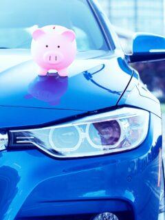 Piggy bank on car