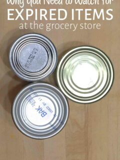 Cans of vegetables with expiration dates visible