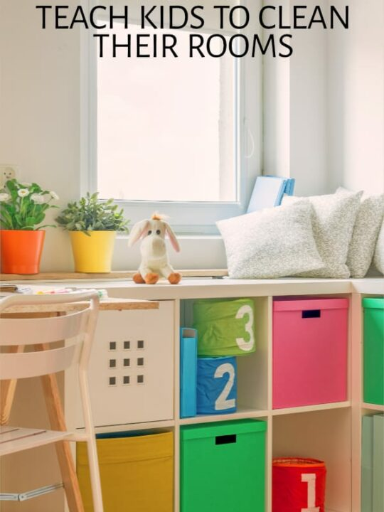 Child's room with shelves of colorful boxes
