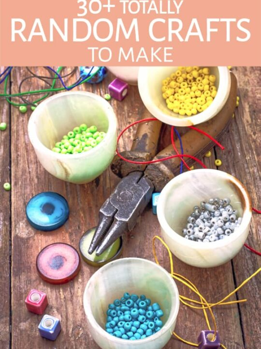 Beads and other craft supplies on a table