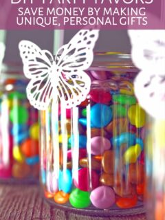 Homemade DIY party favor candy jars with butterfly ornaments