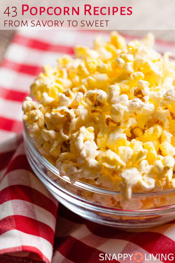 Buttered popcorn in a clear bowl