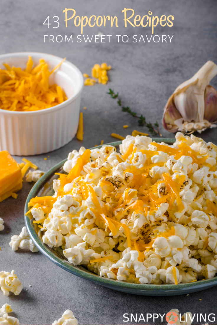 These popcorn recipes range from savory to sweet, and there are plenty of them to choose from. Popcorn is so easy, and you can make it into anything from a delicious dessert to a healthy snack. #recipes #popcorn