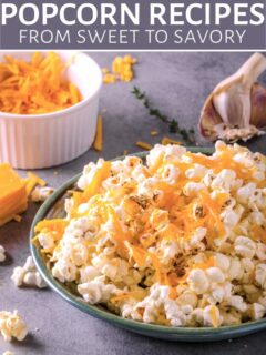 Popcorn with cheese in a bowl