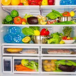 Fruit, vegetables and other items in a refrigerator