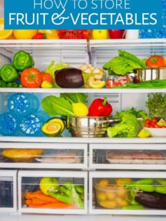 Fruit with vegetables and other items in a refrigerator