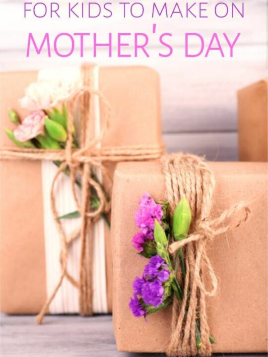 Mothers Day gifts wrapped in boxes