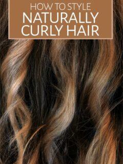 Closeup of long brown curly hair