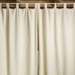 Curtains hanging from tension rod