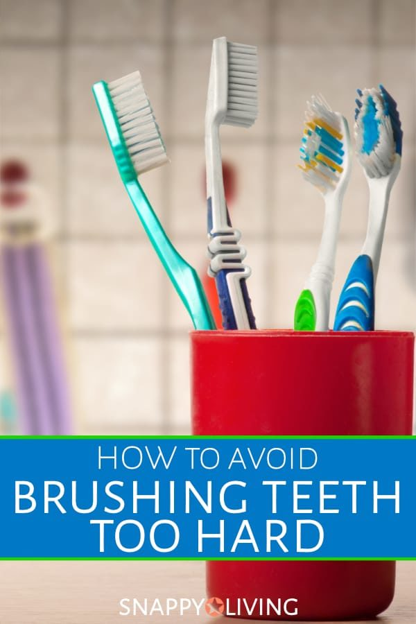 It turns out that brushing teeth too hard can be an issue. You may think the harder you scrub, the cleaner they'll be. But you may just be damaging your enamel and pushing your gums away from your teeth. #health #dentaltips #healthyteeth