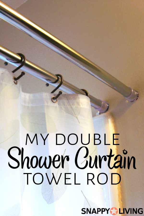 This Double Shower Curtain Rod is really simple to make. It gives you an extra rod for storing towels, drying clothes, or hanging an accessories curtain. Great for small bathrooms! #DIY #organizing