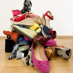 Messy pile of shoes