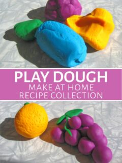 Homemade play dough in assorted colors