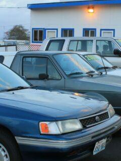 Used car lot at dusk
