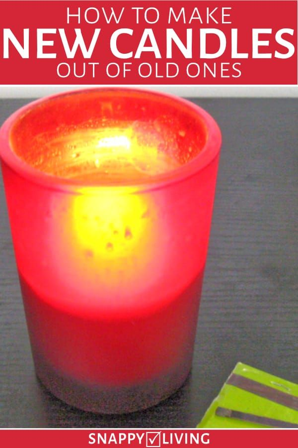 New candle made from old candle burning in red holder