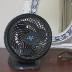 Vornado fan sitting on a dresser