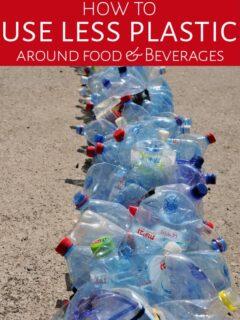 Long line of water bottles in trash