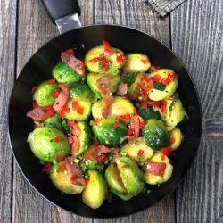 Brussels sprouts in skillet with bacon