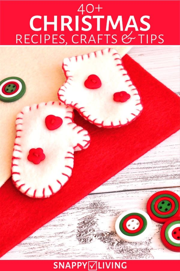 Christmas craft mittens and buttons