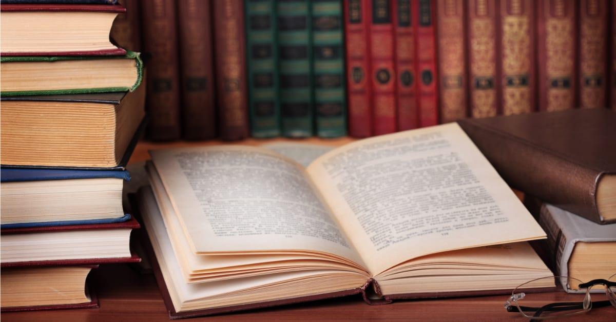 Law book open on desk