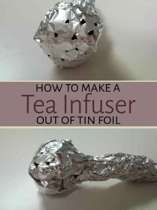 Tin foil tea infuser on table