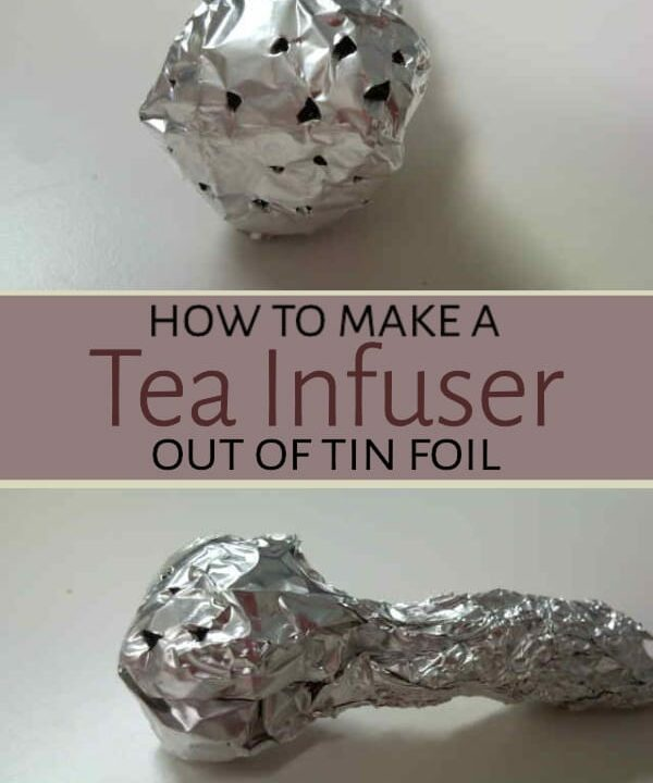 Tin foil tea infuser on table
