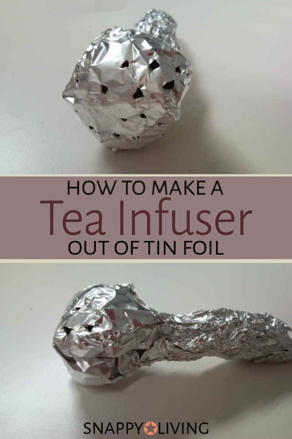 Collage of tin foil tea infuser on table