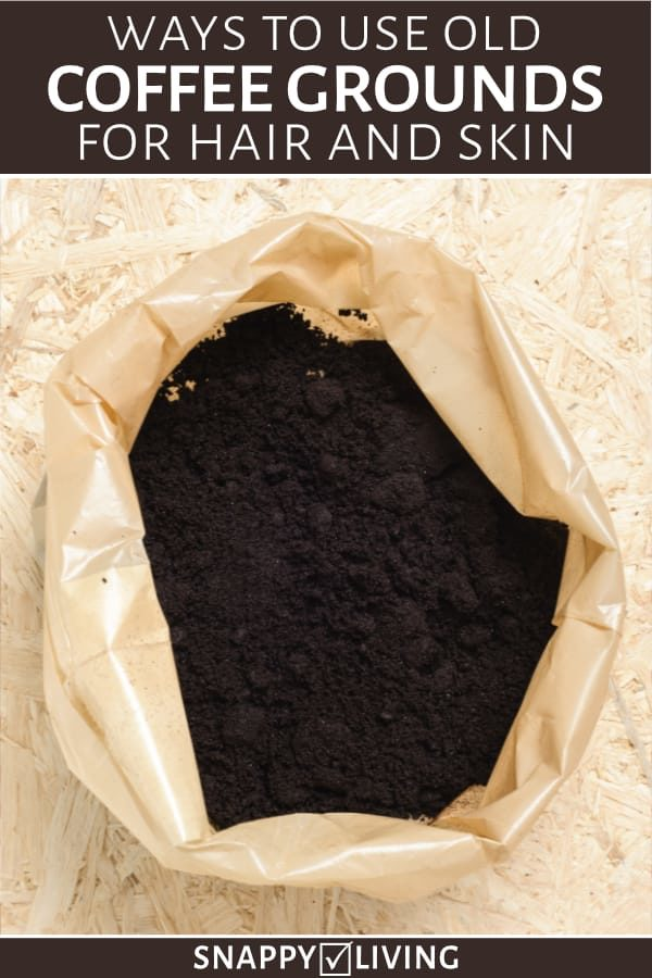 Used coffee grounds in a bag