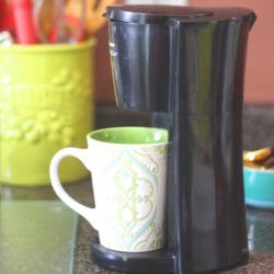 My single cup coffee maker on the kitchen counter