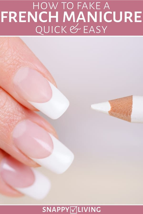 French manicure fingernails with white nail pencil