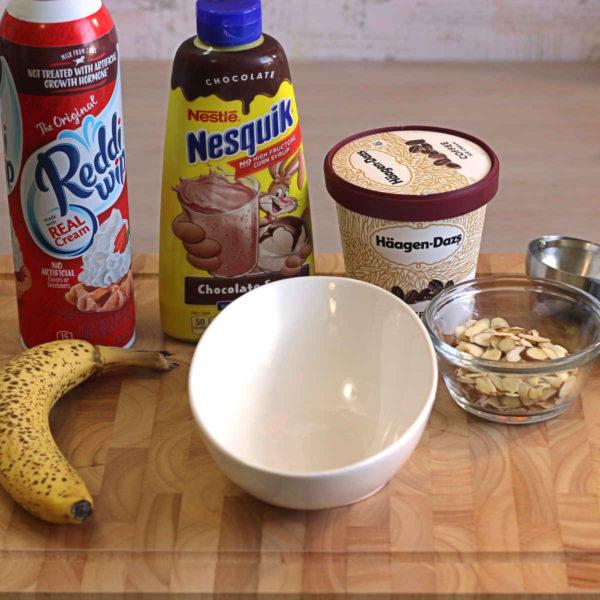 Ingredients for Banana Coffee Ice Cream Sundae