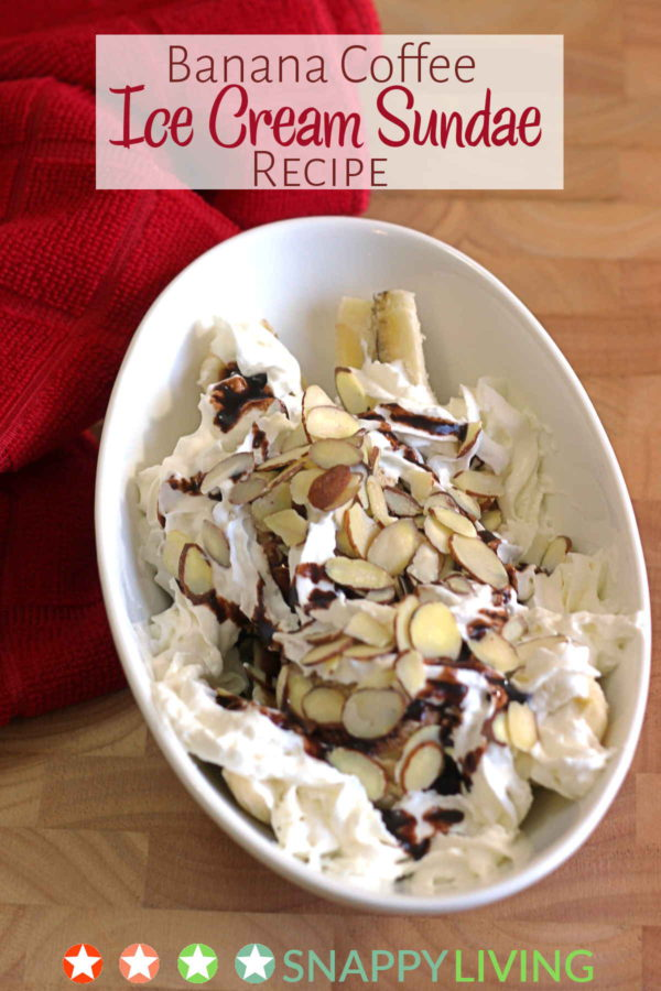 The Banana Coffee Ice Cream Sundae Recipe is a banana split sundae made with coffee ice cream instead of the more traditional vanilla! Add chocolate sauce, whipped cream, nuts, whatever you like. Delicious!
