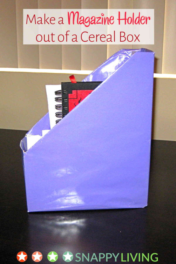 This is a magazine holder I made out of a cereal box years ago. It's a fun, easy project, and they hold up well. And once you've done the cutting, you can turns kids loose on this project.