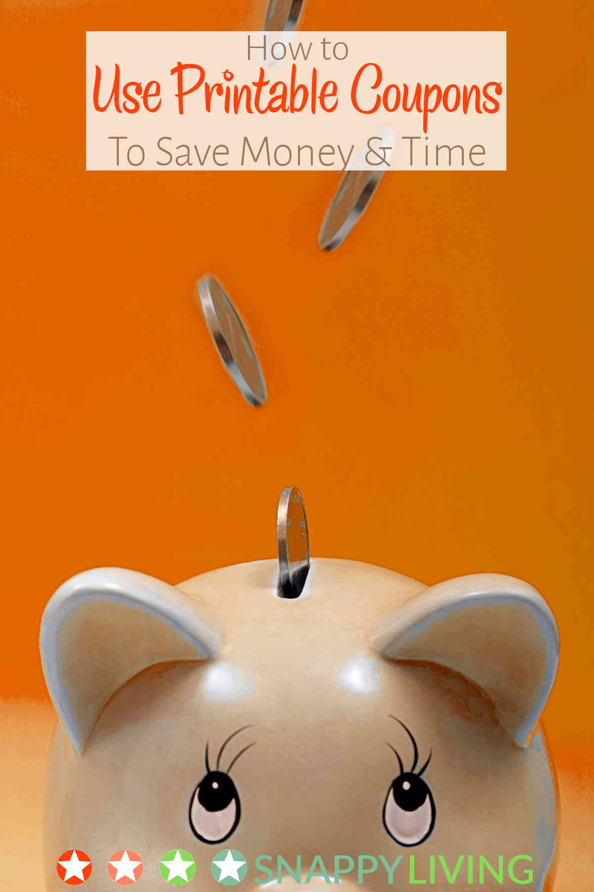 Coins falling into piggy bank