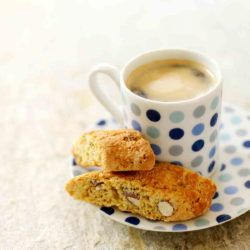 Cup of coffee with biscotti