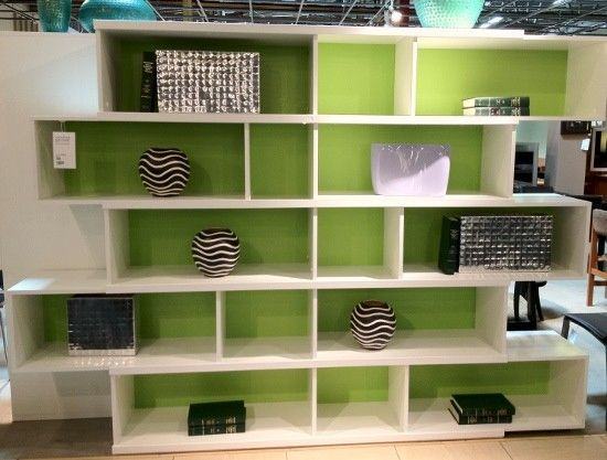 The original white shelf with green backing